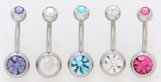 Double Gem Belly Button Ring