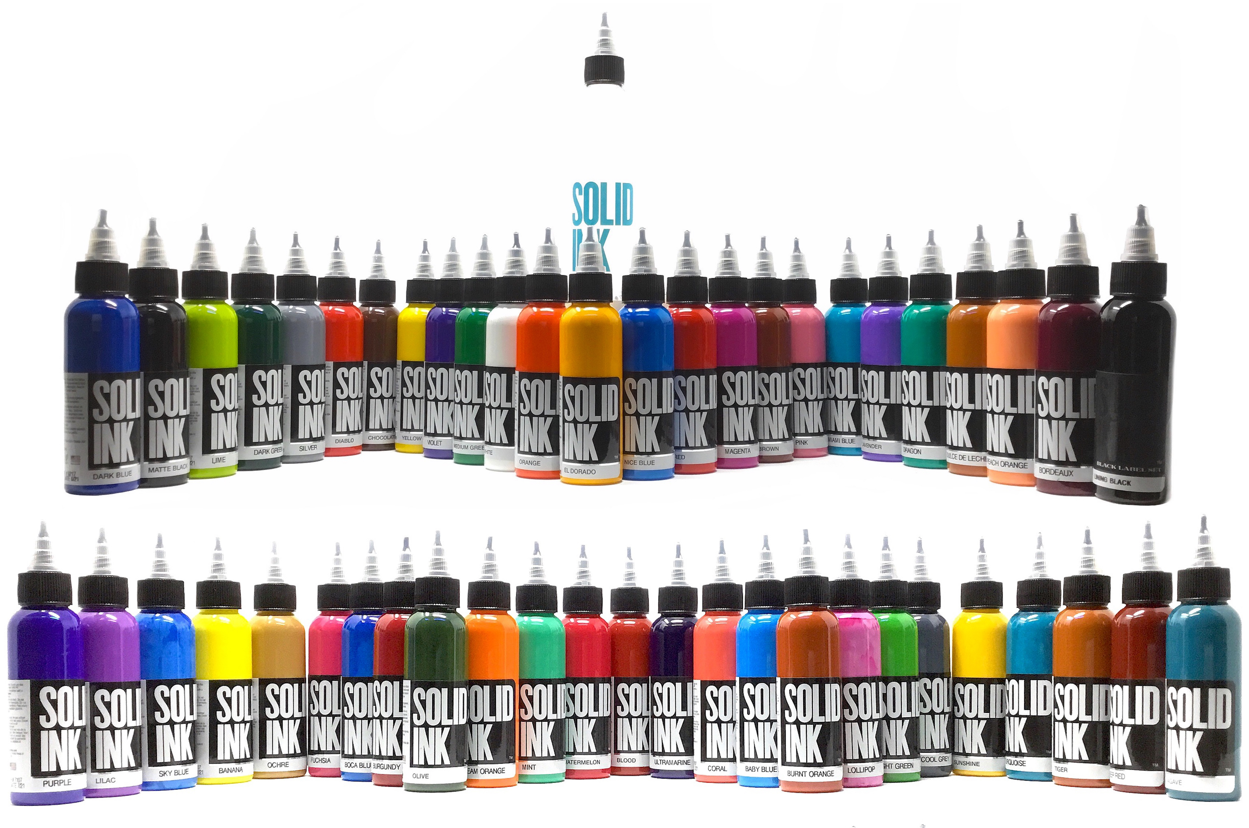 Solid Tattoo Ink 50 Color Deluxe Set in 1oz bottles