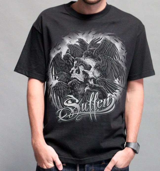 Crow Skull Mash T-Shirt by Sullen